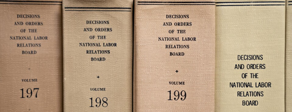 National Labor Relations Board decisions and orders volumes sit on a shelf at the headquarters in Washington, on Monday, Sept. 30, 2019.