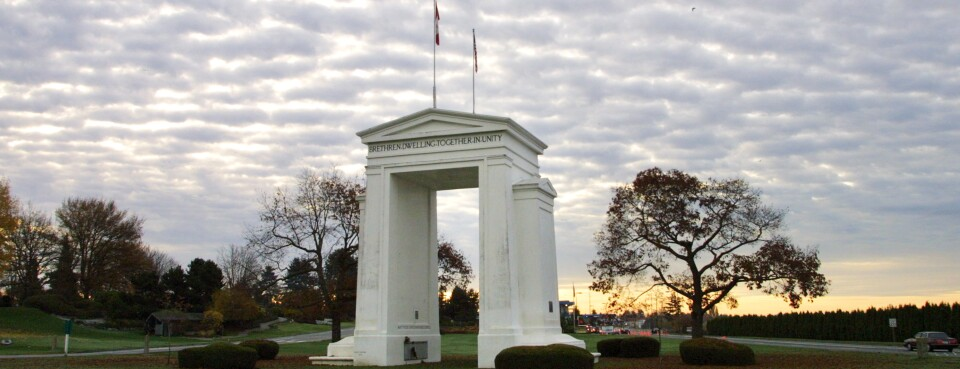The Peace Arch at the border crossing between Blaine, Washington and White Rock, British Columbia.