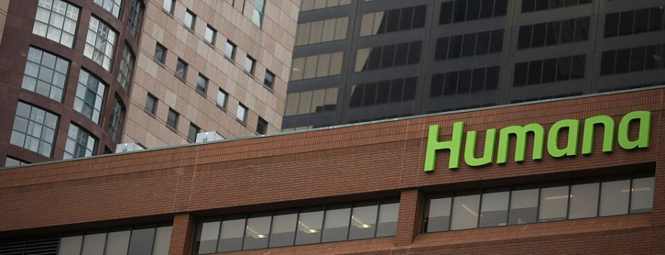 Signage is displayed at the Humana Inc. office building in Louisville, Kentucky.