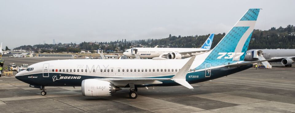 Photo of a Boeing 737 Max airplane.