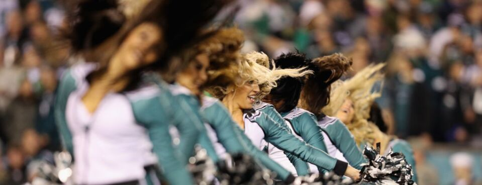 Philadelphia Eagles cheerleaders perform in the NFC Championship game between the Philadelphia Eagles and the Minnesota Vikings on Jan. 21, 2018.