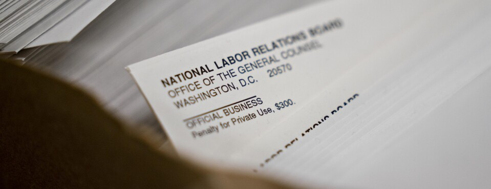 National Labor Relations Board envelopes sit at the headquarters in Washington, on Sept. 30.