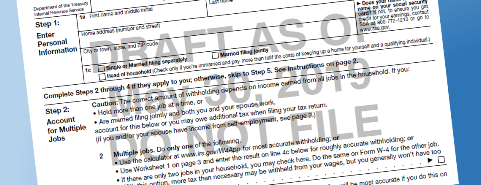 IRS Releases New Draft of 2020 Withholding Form (1)