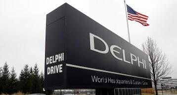 Sign outside Delphi Corp. headquarters.