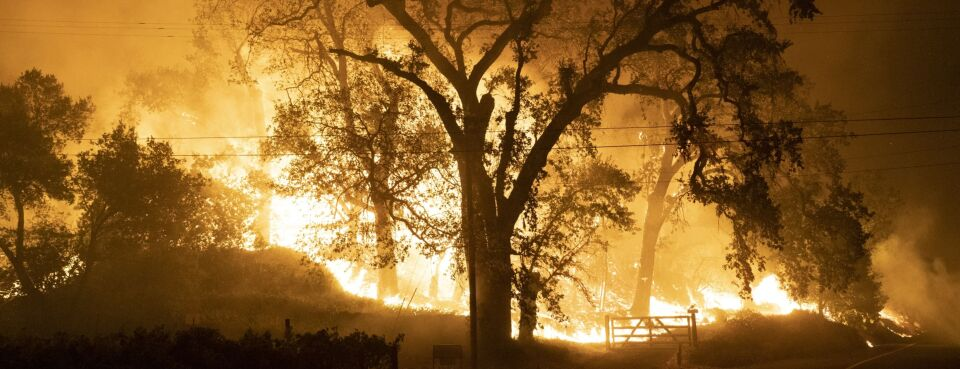 Photo of flames and smoke from wildfires in California.