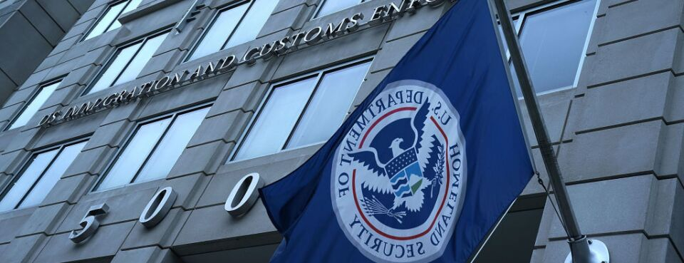 Exterior view of U.S. Immigration and Customs Enforcement agency headquarters in Washington, D.C.