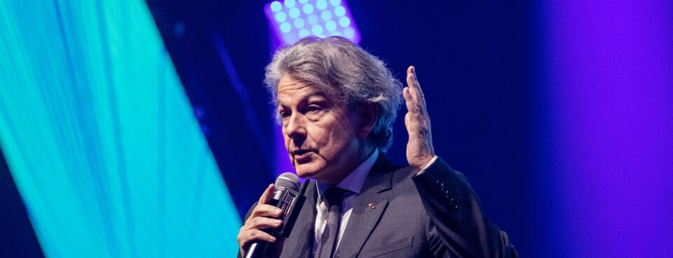Thierry Breton speaks at the Viva Technology conference in Paris, France on May 16, 2019. At the time he was CEO of Atos SA, but he became a European commissioner later that year.