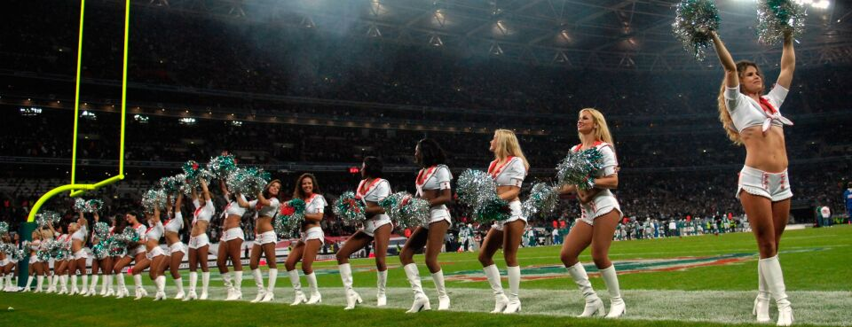 Photo of NFL cheerleaders.