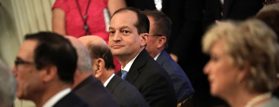 Secretary of Labor Alexander Acosta attends an event at the East Room of the White House June 29, 2018, in Washington, DC.