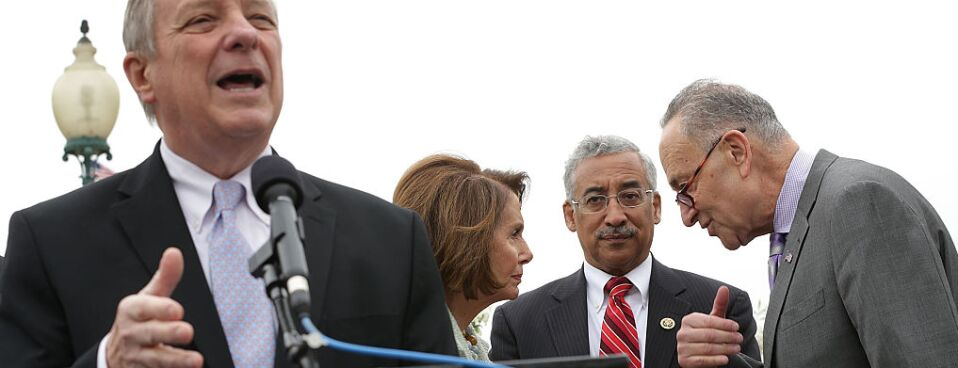 Rep. Bobby Scott (D-VA) stands with Democratic leadership at a 2016 news conference on a higher minimum wage. Scott says legislation to raise the federal minimum wage will be one of the top priorities in early 2019 for the House Committee on Education and Labor.