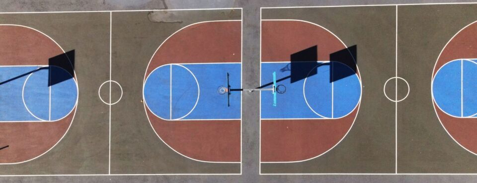Photo of empty basketball court.