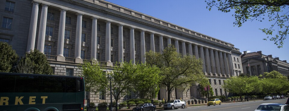Street view of the front of the IRS headquarters in Washington.