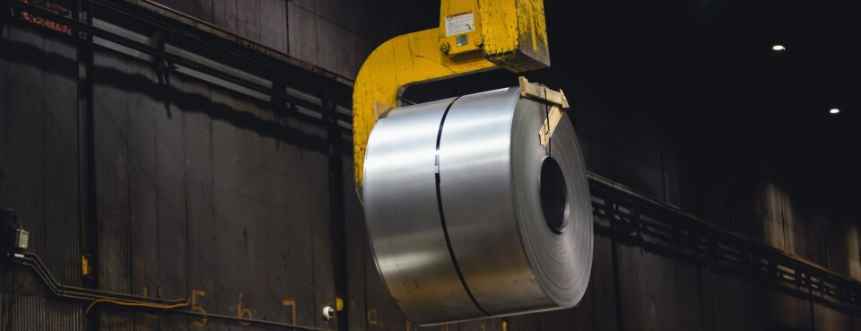 Photo of a roll of steel at a foundry in Pennsylvania.