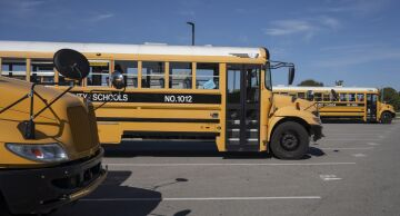 Photo of school buses in Kentucky.
