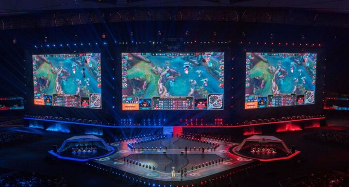 Game screen of League of Legends is seen on screens during the World Championships Final of League of Legends in Beijing on Nov. 4, 2017.