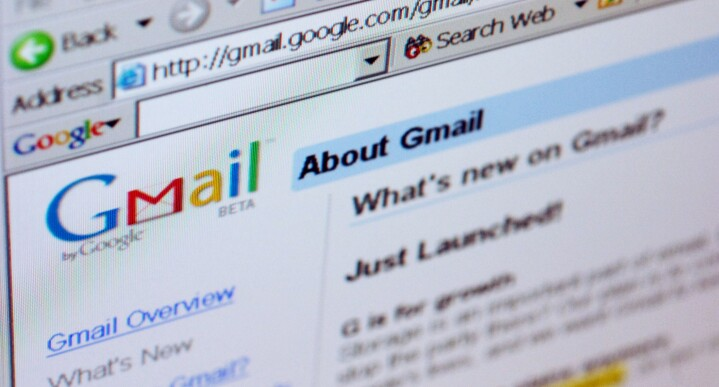 Gmail.com welcome page.