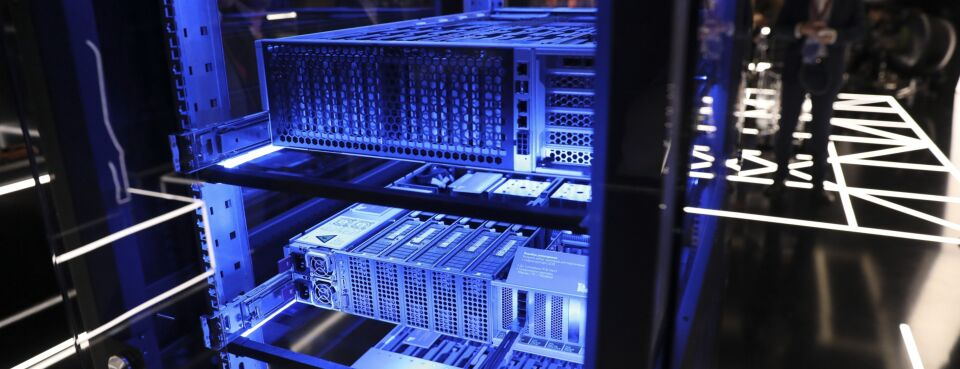 Photo of cryptocurrency mining computer servers.