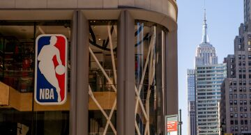 Photo of the National Basketball Association Inc. logo at the NBA store in Manhattan.