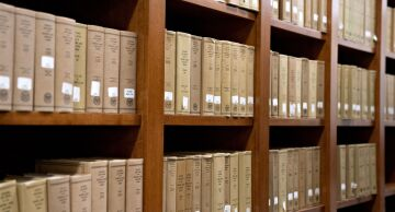 National Labor Relations Board decisions and orders volumes sit on shelves at the headquarters in Washington, D.C.