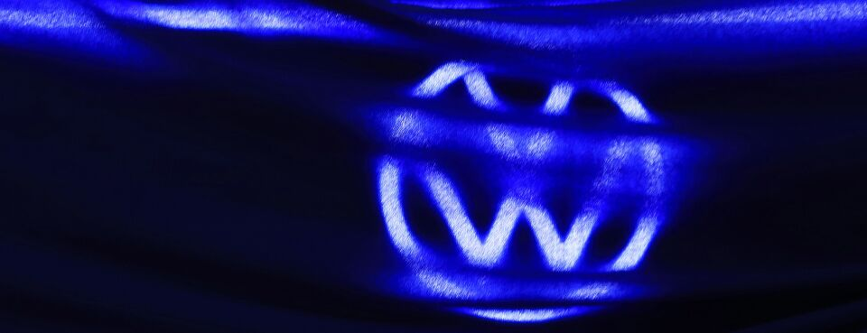 Photo of the Volkswagen AG logo at the IAA Munich Motor Show in Germany.