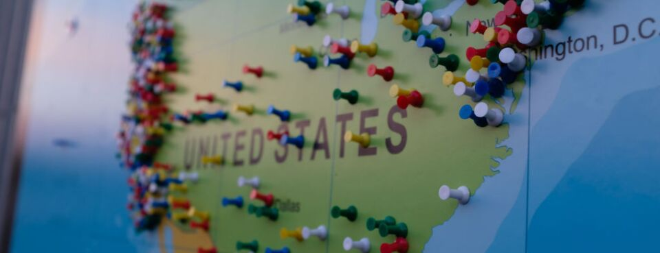 Pins on a U.S. map.