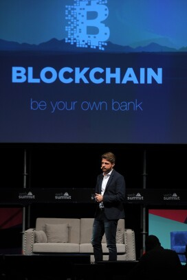 Blockchain logo displayed during the Lisbon Web Summit in Portugal.