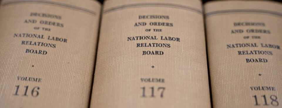 National Labor Relations Board decisions and orders volumes sit on a shelf at the headquarters in Washington, on Sept. 30, 2019.