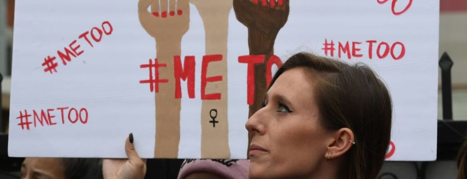 Supporters protest during a #MeToo march in Hollywood, California on November 12, 2017.