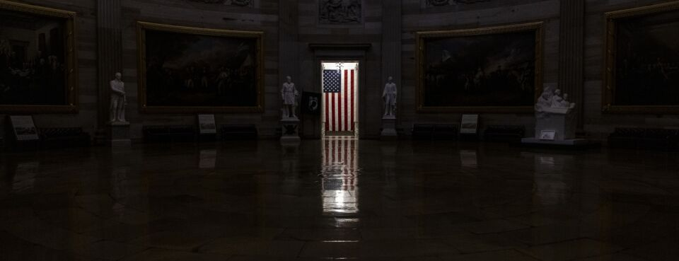 An American flag at the Rotunda in the U.S. Capitol in Washington, D.C., U.S., on Friday, Jan. 1, 2021.