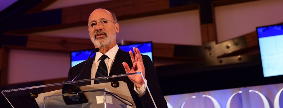 """Pennsylvania Gov. Tom Wolf (D) speaks on stage during the Geisinger National Symposium, """"From Crisis to Cure: Revitalizing America's Healthcare System,"""" on Nov. 9, 2017, in Danville, Pennsylvania."""