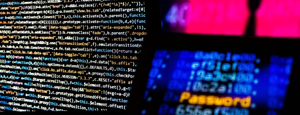 Photo of computer code on a screen.