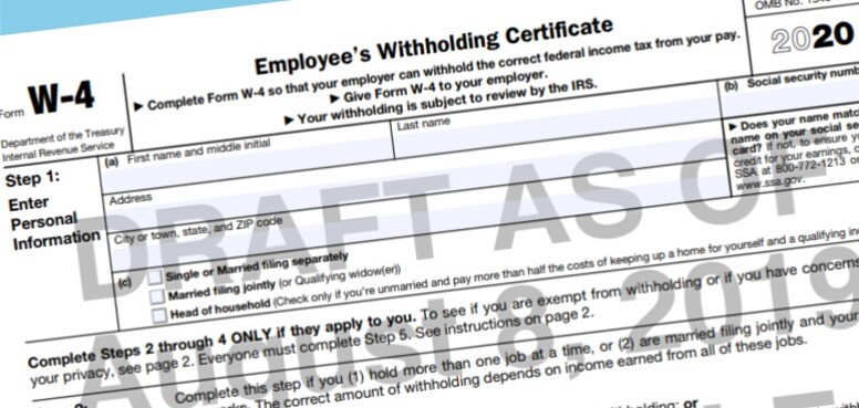 IRS Alters Name on Revised 2020 Withholding Form Draft