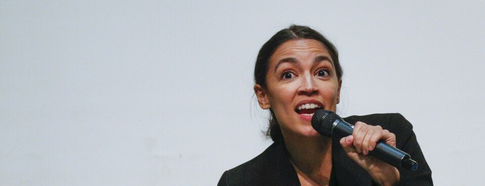 U.S. Rep. Alexandria Ocasio-Cortez (D-NY) speaks at a Town Hall meeting November 6, 2019 in the Bronx borough of New York City. ()