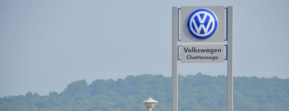Signage stands outside the Volkswagen AG factory in Chattanooga, Tenn. The UAW on May 9, 2019, asked the NLRB to lift a stay on union voting and allow an election date to be set.