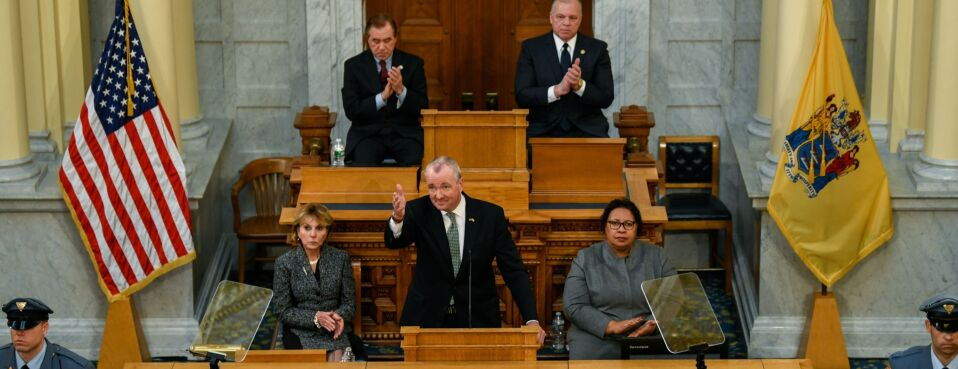 New Jersey Governor Phil Murphy speaks during a fiscal year 2020 budget address at the New Jersey State Assembly chamber in Trenton, New Jersey, on March 5, 2019.