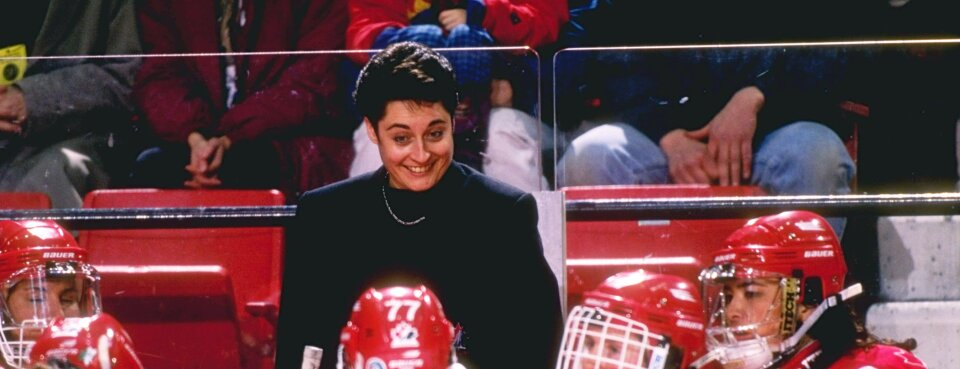 Shannon Miller in 1997, then coach of the Canadian national women's hockey team.