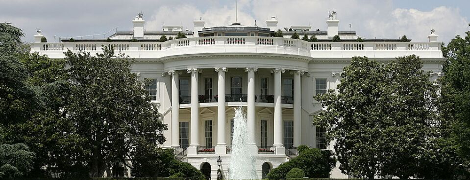 The exterior view of the south side of the White House is seen.