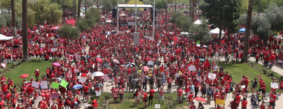 Thousands of Arizona teachers descend on the State Capitol in April 2018 during a rally for the #REDforED movement.