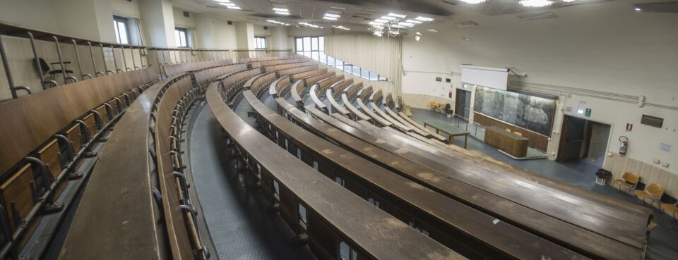 Photo of an empty college classroom.