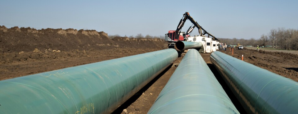 Pipeline - Insights: Three sections of pipe sit on the ground during construction of part of the Keystone XL Pipeline Project.