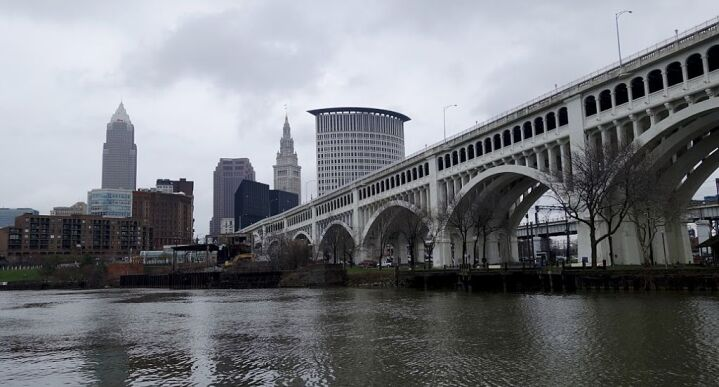 The Cleveland skyline is seen across from the Cuyahoga River on April 7, 2016.