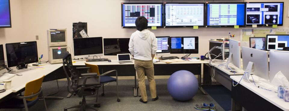 Photo of a scientist in a control room at the Hanford Site in Richland, Wash.