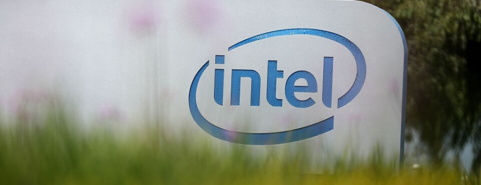 The Intel logo is displayed outside of the Intel headquarters on April 26, 2018 in Santa Clara, Calif.