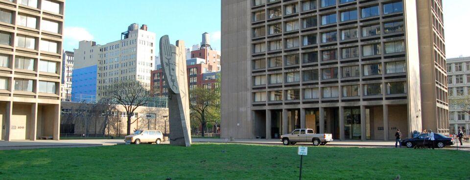 A photo shows the NYU campus in Manhattan.